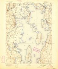 Narrangansett Bay, Rhode Island 1892 (1898) USGS Old Topo Map Reprint 15x15 MA Quad 353504