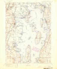 Narrangansett Bay, Rhode Island 1892 (1904) USGS Old Topo Map Reprint 15x15 MA Quad 353505