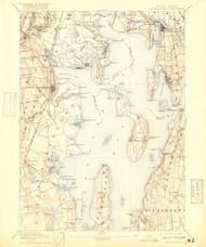 Narrangansett Bay, Rhode Island 1892 (1918) USGS Old Topo Map Reprint 15x15 MA Quad 353507