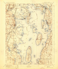 Narrangansett Bay, Rhode Island 1892 (1924) USGS Old Topo Map Reprint 15x15 MA Quad 353511