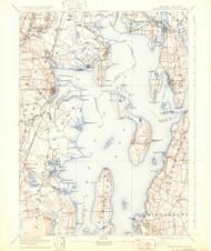 Narrangansett Bay, Rhode Island 1892 (1931) USGS Old Topo Map Reprint 15x15 MA Quad 353512