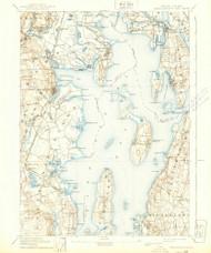 Narrangansett Bay, Rhode Island 1892 (1939) USGS Old Topo Map Reprint 15x15 MA Quad 353513