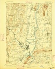Northampton, Massachusetts 1895 (1895) USGS Old Topo Map Reprint 15x15 MA Quad 352901