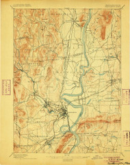 Northampton, Massachusetts 1895 (1906) USGS Old Topo Map Reprint 15x15 MA Quad 352904