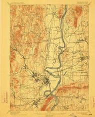 Northampton, Massachusetts 1895 (1912) USGS Old Topo Map Reprint 15x15 MA Quad 352906