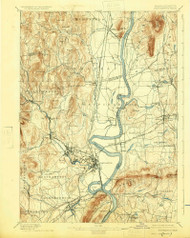 Northampton, Massachusetts 1895 (1925) USGS Old Topo Map Reprint 15x15 MA Quad 352908