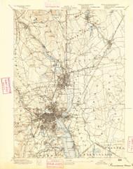 Providence, Rhode Island 1894 (1894) USGS Old Topo Map Reprint 15x15 MA Quad 352968