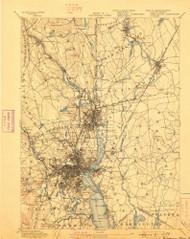 Providence, Rhode Island 1894 (1898) USGS Old Topo Map Reprint 15x15 MA Quad 352969