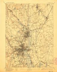 Providence, Rhode Island 1894 (1907) USGS Old Topo Map Reprint 15x15 MA Quad 352971