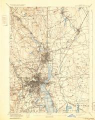Providence, Rhode Island 1894 (1932) USGS Old Topo Map Reprint 15x15 MA Quad 352978
