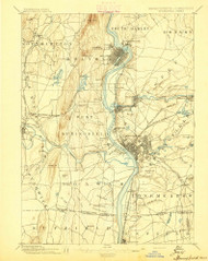 Springfield, Massachusetts 1895 (1895) USGS Old Topo Map Reprint 15x15 MA Quad 353052