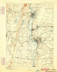 Springfield, Massachusetts 1895 (1900) USGS Old Topo Map Reprint 15x15 MA Quad 353053