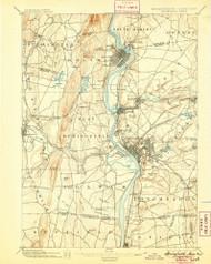 Springfield, Massachusetts 1895 (1905) USGS Old Topo Map Reprint 15x15 MA Quad 353055