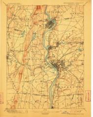 Springfield, Massachusetts 1895 (1912) USGS Old Topo Map Reprint 15x15 MA Quad 353041