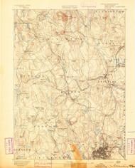 Worcester, Massachusetts 1892 (1892) USGS Old Topo Map Reprint 15x15 MA Quad 353129