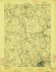 Worcester, Massachusetts 1892 (1897) USGS Old Topo Map Reprint 15x15 MA Quad 353130