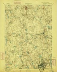 Worcester, Massachusetts 1892 (1899) USGS Old Topo Map Reprint 15x15 MA Quad 353131