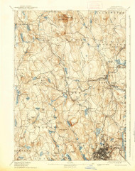 Worcester, Massachusetts 1892 (1939) USGS Old Topo Map Reprint 15x15 MA Quad 353141