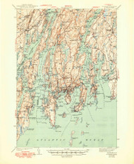 Boothbay, Maine 1943 (1949) USGS Old Topo Map Reprint 15x15 ME Quad 460224