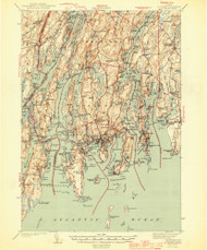 Boothbay, Maine 1944 (1944) USGS Old Topo Map Reprint 15x15 ME Quad 460223
