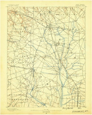 Glassboro, New Jersey 1890 USGS Old Topo Map 15x15 NJ Quad
