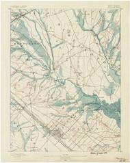 Mullica, New Jersey 1890 USGS Old Topo Map 15x15 NJ Quad