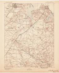 New Brunswick, New Jersey 1888 USGS Old Topo Map 15x15 NJ Quad