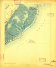 Atlantic City, New Jersey 1894 (1909) USGS Old Topo Map 15x15 NJ Quad