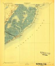 Atlantic City, New Jersey 1894 (1912) USGS Old Topo Map 15x15 NJ Quad