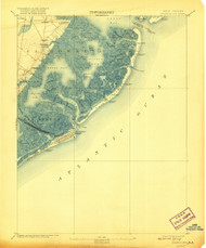 Atlantic City, New Jersey 1894 (1920) USGS Old Topo Map 15x15 NJ Quad