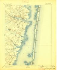 Barnegat, New Jersey 1893 (1898) USGS Old Topo Map 15x15 NJ Quad