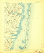 Barnegat, New Jersey 1898 (1904) USGS Old Topo Map 15x15 NJ Quad