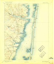 Barnegat, New Jersey 1898 (1917) USGS Old Topo Map 15x15 NJ Quad