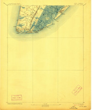 Cape May, New Jersey 1893 (1912) USGS Old Topo Map 15x15 NJ Quad