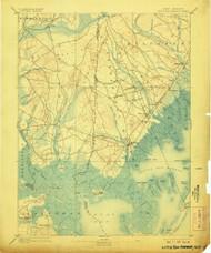 Little Egg Harbor, New Jersey 1893 (1907) USGS Old Topo Map 15x15 NJ Quad