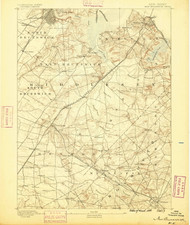 New Brunswick, New Jersey 1888 A USGS Old Topo Map 15x15 NJ Quad