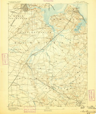New Brunswick, New Jersey 1893 USGS Old Topo Map 15x15 NJ Quad