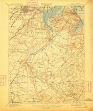 New Brunswick, New Jersey 1901 (1909) USGS Old Topo Map 15x15 NJ Quad