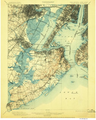 Staten Island, New Jersey 1900 (1906) A USGS Old Topo Map 15x15 NJ Quad