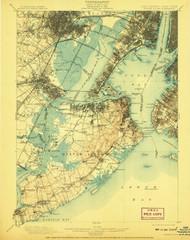 Staten Island, New Jersey 1900 (1908) USGS Old Topo Map 15x15 NJ Quad