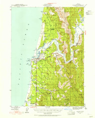 Bandon, Oregon 1943 (1955) USGS Old Topo Map 15x15 OR Quad