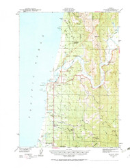 Bandon, Oregon 1943 (1963b) USGS Old Topo Map 15x15 OR Quad