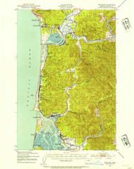 Nehalem, Oregon 1937 (1954) USGS Old Topo Map 15x15 OR Quad