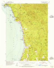 Port Orford, Oregon 1954 (1956) USGS Old Topo Map 15x15 OR Quad