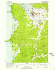 Tillamook, Oregon 1955 (1957) USGS Old Topo Map 15x15 OR Quad