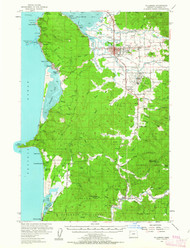Tillamook, Oregon 1955 (1963) USGS Old Topo Map 15x15 OR Quad