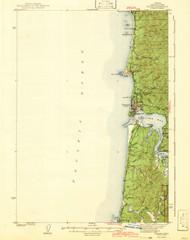 Yaquina, Oregon 1942 (1942) USGS Old Topo Map 15x15 OR Quad