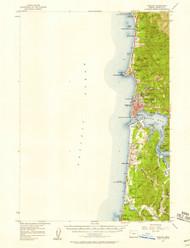 Yaquina, Oregon 1957 (1958a) USGS Old Topo Map 15x15 OR Quad