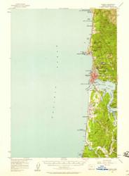 Yaquina, Oregon 1957 (1958b) USGS Old Topo Map 15x15 OR Quad