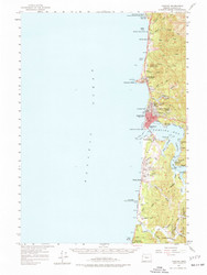Yaquina, Oregon 1957 (1977a) USGS Old Topo Map 15x15 OR Quad